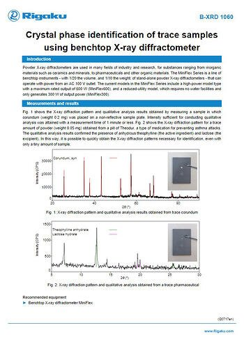 B-XRD1060_Crystal_phase_identification_of_trace_samples_using_benchtop_X-ray_diffractometer_ApplicationNote_Q0717en