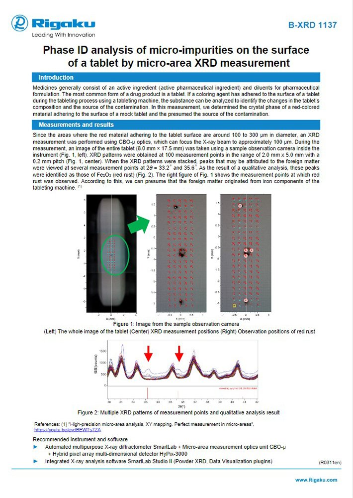 B-XRD1137_Phase_ID_analysis_of_micro-impurities_on_the_surface_of_a_tablet_by_micro-area_XRD_measurement_ApplicationNote_R311en