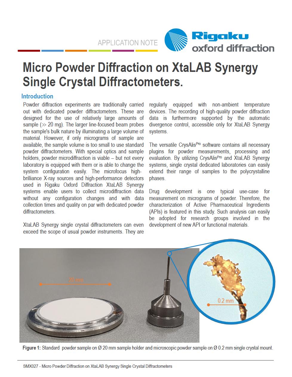 Micro Powder Diffraction App Note Thumbnail