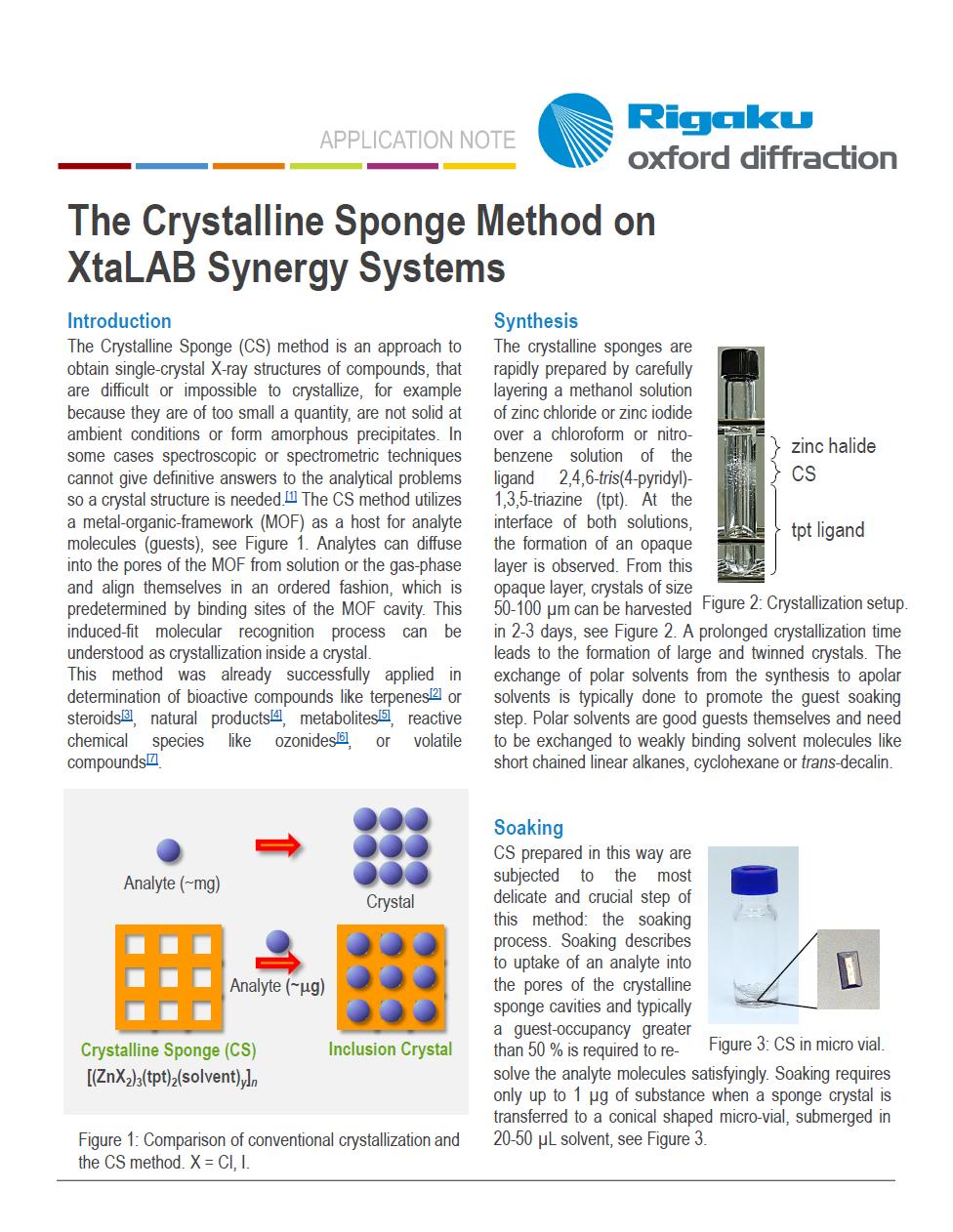 Crystalline Sponge App Note Thumbnail